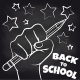Chalkboard back to scool sketch. With hand and pencil. Vector illustration Royalty Free Stock Image