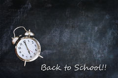 Chalkboard Background with Clock Royalty Free Stock Photo