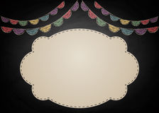 Chalkboard background with drawing bunting decor and empty banner. Vector illustration royalty free illustration