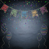Chalkboard background with drawing bunting flags and balloons Royalty Free Stock Photo