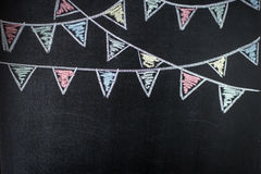 Chalkboard background with drawing bunting flags. Stock Photo