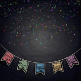 Chalkboard background with drawing bunting flags Stock Photography