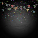 Chalkboard background with drawing bunting flags Stock Photos