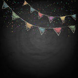 Chalkboard background with drawing bunting flags Royalty Free Stock Image
