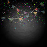 Chalkboard background with drawing bunting flags Stock Images