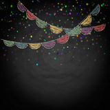 Chalkboard background with drawing bunting flags Royalty Free Stock Photo