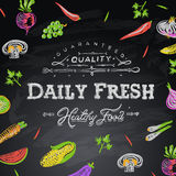 Chalkboard background daily fresh food stock illustration