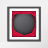 Chalkboard background texture in vintage style with red rose flower in photo frame Royalty Free Stock Images