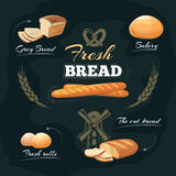 Chalkboard bakery cafe menu. Vector template. Chalkboard bakery cafe menu. Drawing bread or baguette, label and emblem for bakery with bread. Vector illustration Royalty Free Stock Photo