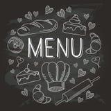 Chalkboard Baking Vector Food Doodle Icons 1 Stock Image