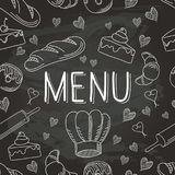 Chalkboard Baking Vector Food Doodle Icons Seamless Pattern 1 Stock Photos