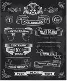 Chalkboard banners and ribbons set on a black back Royalty Free Stock Images