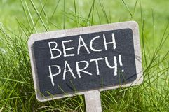 Chalkboard with beachparty royalty free stock photography