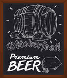 Chalkboard with Beer Information for Oktoberfest in Hand Drawn Style, Vector Illustration. Wooden chalkboard for Oktoberfest showing you information where find Stock Image