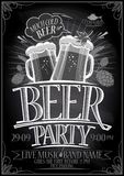 Chalkboard beer party poster Royalty Free Stock Image