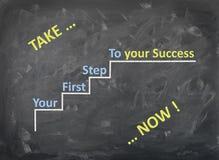 Chalkboard - Bierze twój pierwszego kroka sukces - Teraz - schody Obrazy Stock