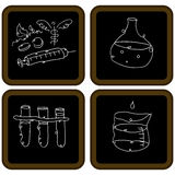 Chalkboard Biology Icons Stock Photography
