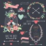 Chalkboard Birdcage Wedding Flowers Stock Photo