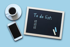 Chalkboard or Blackboard concept with empty To Do List stock photo