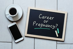 Chalkboard or Blackboard concept saying - CAREER or PREGNANCY? Royalty Free Stock Images