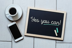 Chalkboard or Blackboard concept saying - Yes you can Stock Photos