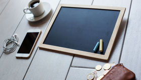 Chalkboard or Blackboard ready for text. Education or working, business, job concept. Stock Image