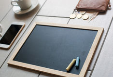 Chalkboard or Blackboard ready for text. Education or working, business, job concept. Royalty Free Stock Images