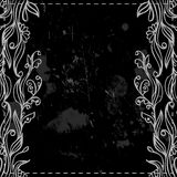 Chalkboard  border. Floral frame on the chalkboard black and white Stock Photography