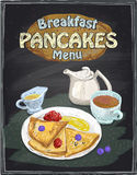 Chalkboard breakfast menu design with pancakes, cup of tea Royalty Free Stock Images