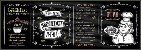 Free Chalkboard Breakfast Menu Set With Graphic Chef Cook Portrait Royalty Free Stock Images - 161986329
