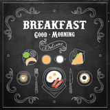 Chalkboard Breakfast Menu. Vector Illustration Royalty Free Stock Photography