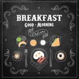 Chalkboard Breakfast Menu. Vector Illustration Royalty Free Stock Photography