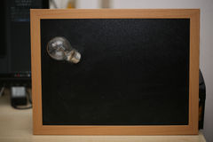 Chalkboard with bulb, symbolic of Ideas Royalty Free Stock Photography