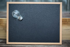 Chalkboard with bulb, symbolic of Ideas Stock Images