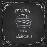 Chalkboard burger menu Stock Photography