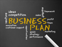 Chalkboard - Business Plan. Dark chalkboard with the word Business Plan illustration Stock Photos