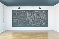 Chalkboard with business scheme. S and formulas in room with wooden floor and concrete walls. 3D Rendering Stock Photos