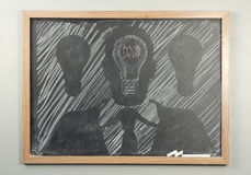 Chalkboard Businessman Lightbulbs Royalty Free Stock Photos