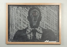 Chalkboard Businessman Lightbulbs Stock Photos
