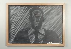 Chalkboard Businessman Lightbulbs Royalty Free Stock Photography