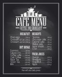 Chalkboard cafe menu list design with dishes name. Royalty Free Stock Photos