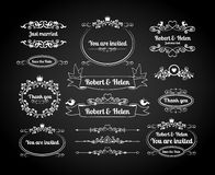 Chalkboard calligraphic frames, page dividers vector illustration