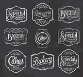 Chalkboard calligraphic vector sign and label design set Royalty Free Stock Photo