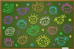 Chalkboard with cartoon faces. Green Blackboard with Cartoon Face Silhouettes. Illustration Royalty Free Stock Photos