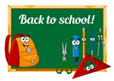 Chalkboard with cartoon school supplies. Green chalkboard and cartoon school supplies characters in Back to school concept with happy backpack, pencil, scissors Royalty Free Stock Images