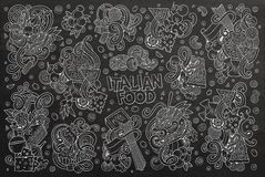Chalkboard  cartoon set of italian food objects Royalty Free Stock Image