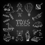 Chalkboard cartoon toys Stock Photo
