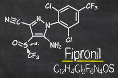 Chalkboard with the chemical formula of Fipronil Royalty Free Stock Images