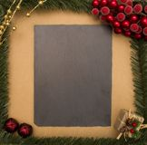 Chalkboard Christmas Background - Add your own writing Royalty Free Stock Photo