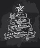 Chalkboard Christmas calligraphy banner Stock Photos